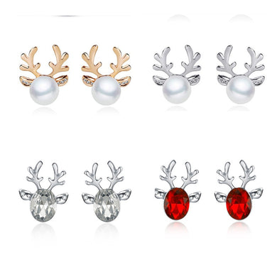 1Pair Women Xmas Gift Elegant Jewelry Christmas Pearl Deer Earrings Reindeer Ear Stud