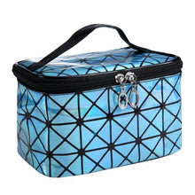 Load image into Gallery viewer, Travel Makeup Bag | Diamond Square Cosmetic Case- Light Blue