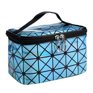 Travel Makeup Bag | Diamond Square Cosmetic Case- Light Blue
