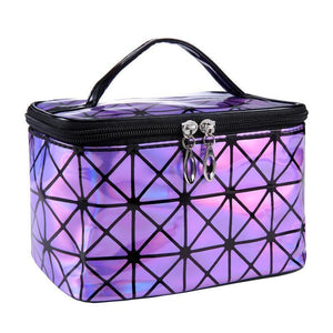 Travel Makeup Bag | Diamond Square Cosmetic Case- Purple