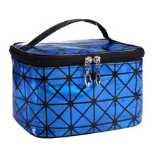 Load image into Gallery viewer, Travel Makeup Bag | Diamond Square Cosmetic Case- Blue