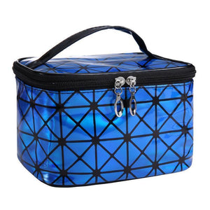 Travel Makeup Bag | Diamond Square Cosmetic Case- Blue