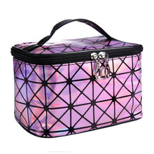 Load image into Gallery viewer, Travel Makeup Bag | Diamond Square Cosmetic Case- Pink