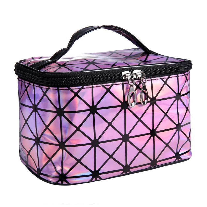 Travel Makeup Bag | Diamond Square Cosmetic Case- Pink