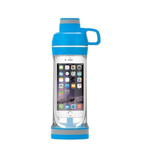 Phone Storage Water Bottle | Workout Phone Case Bottle- Iphone 7 6s 6 / Blue