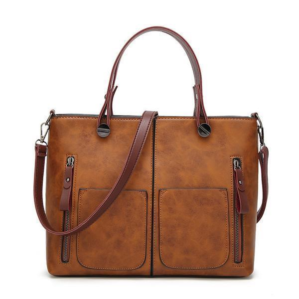 High Quality Leather Vintage Shoulder Bag | All-Purpose Casual Vintage Tote Bag- Brown