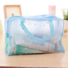 Load image into Gallery viewer, Travel Makeup Bag | Transparent Cosmetic Case- Blue
