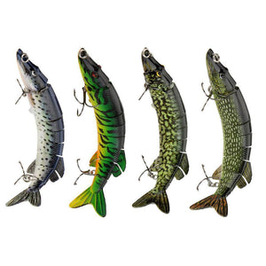 Lifelike Pike Muskie Fishing Lure 8-segement Swimbait- Pick Your Type