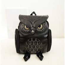 Load image into Gallery viewer, Owl Leather Backpack- Black
