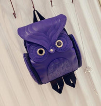 Load image into Gallery viewer, Owl Leather Backpack- Purple