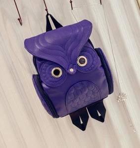 Owl Leather Backpack- Purple