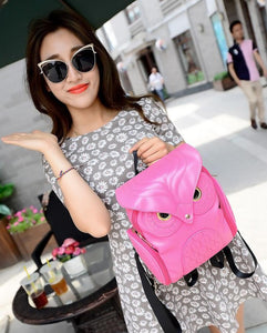 Owl Leather Backpack- Hot Pink