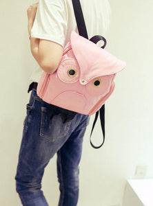 Owl Leather Backpack- Pink