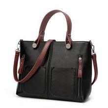 Load image into Gallery viewer, High Quality Leather Vintage Shoulder Bag | All-Purpose Casual Vintage Tote Bag- Black