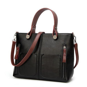 High Quality Leather Vintage Shoulder Bag | All-Purpose Casual Vintage Tote Bag- Black