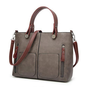 High Quality Leather Vintage Shoulder Bag | All-Purpose Casual Vintage Tote Bag- Gray