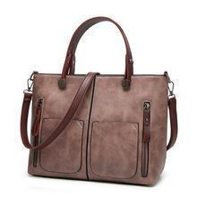 High Quality Leather Vintage Shoulder Bag | All-Purpose Casual Vintage Tote Bag- Light Pink