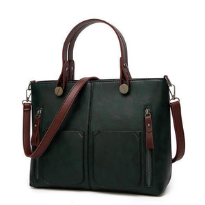 High Quality Leather Vintage Shoulder Bag | All-Purpose Casual Vintage Tote Bag- Green
