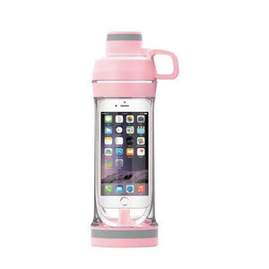 Phone Storage Water Bottle | Workout Phone Case Bottle- Iphone 7s / Pink
