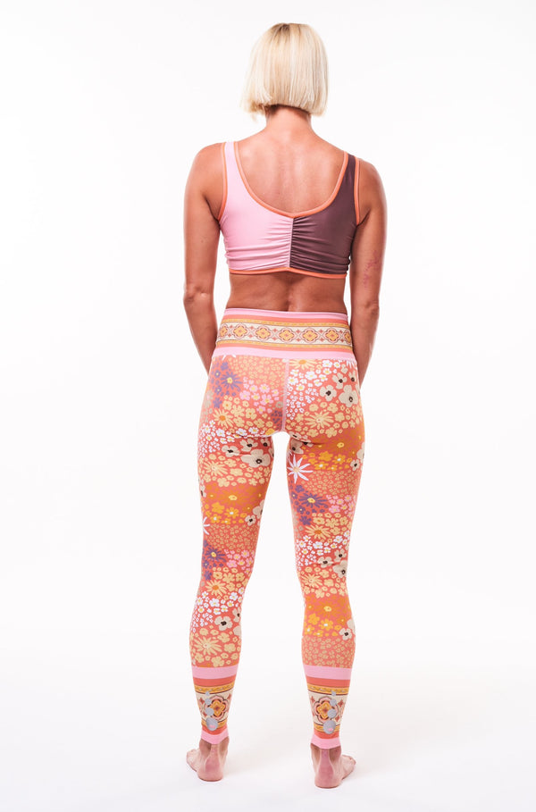 MALO hi rise luxe leggings (no pocket) - flower child blush