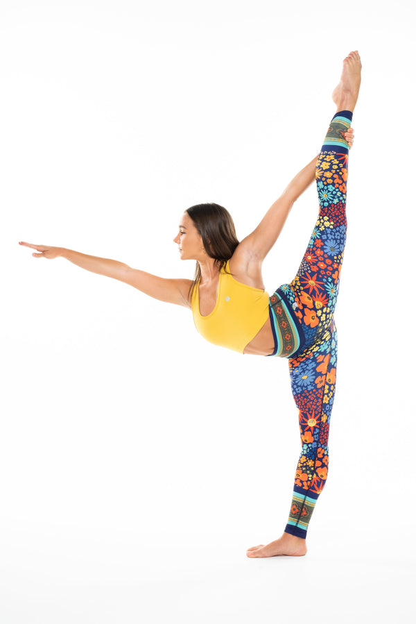 MALO hi rise luxe leggings (no pocket) - flower child blue poppy