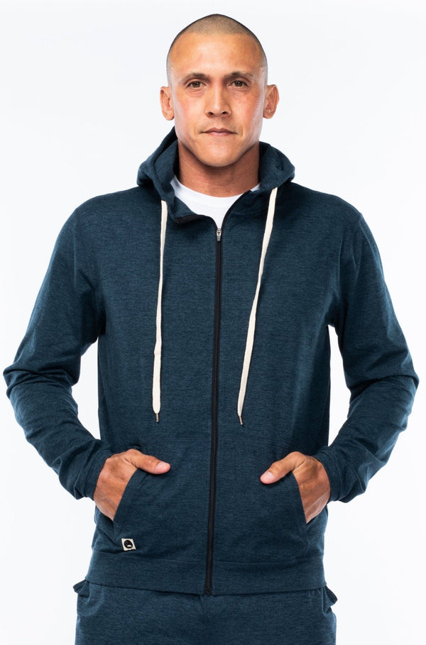 men's ultimate travel hoodie - indigo heather