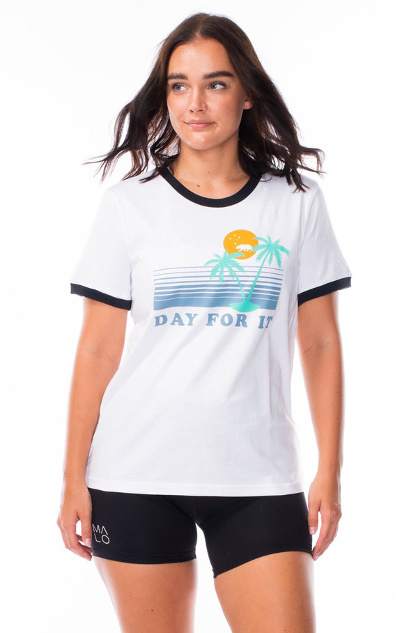 day for it ringer tee - white