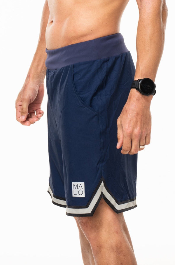 "MALO arvo short (unlined 9.5"")- navy/sand/black"