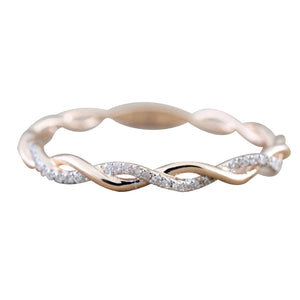 Twisted Rhinestone Inlaid Band Ring