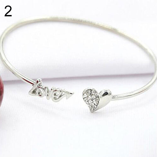Women's Love Heart Rhinestone Bangle Banquet Jewelry Gift Cuff Opening Bracelet