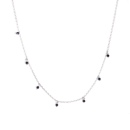 Black Bead Sterling Silver Choker Necklace