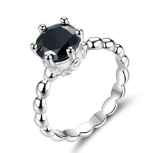 Load image into Gallery viewer, Silver Black Stud Ring