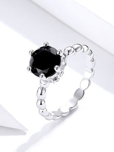 Silver Black Stud Ring