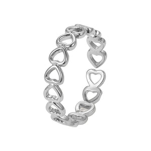 Silver Hollowed-out Heart Ring