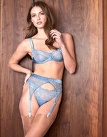 Fleur of england iris balcony bra, thong and suspender belt