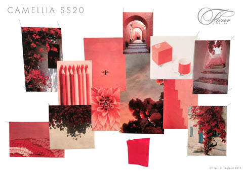 A moodboard of Fleur's inspiration for the Camellia lingerie collection