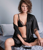 Fleur of England Signature black padded plunge bra and brief worn with the black silk robe