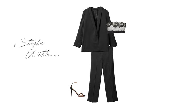 Black cosmic strapless boudoir styled wit heeled sandals, suit, for christmas, festive meal, party, drinks
