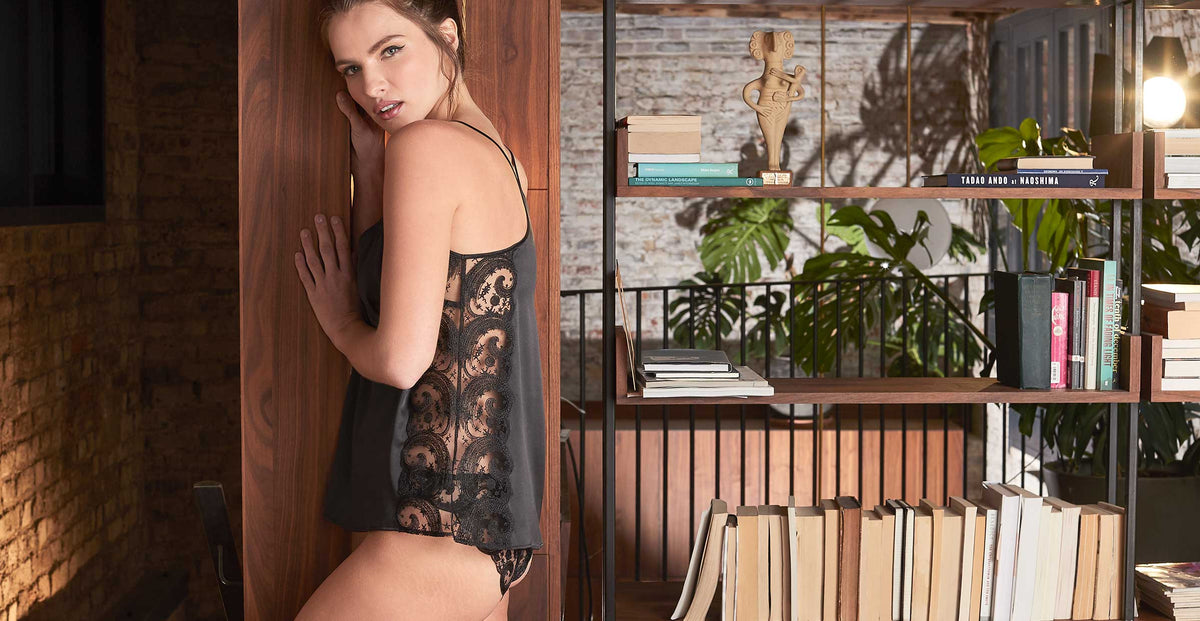 Fleur of England Cosmic Black Embroidered Silk Camisole