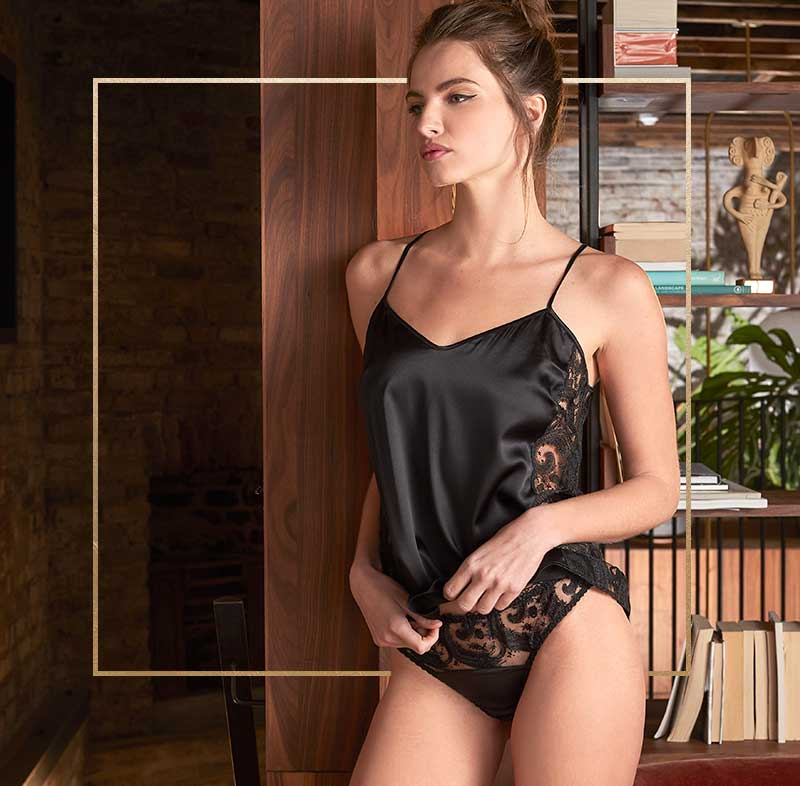 Fleur of England Cosmic black silk camisole and embroidered brief