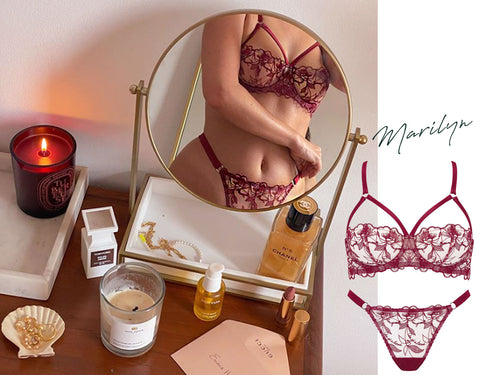 Fleur of England luxury lingerie deep red embroidery strap balcony bra and thong set