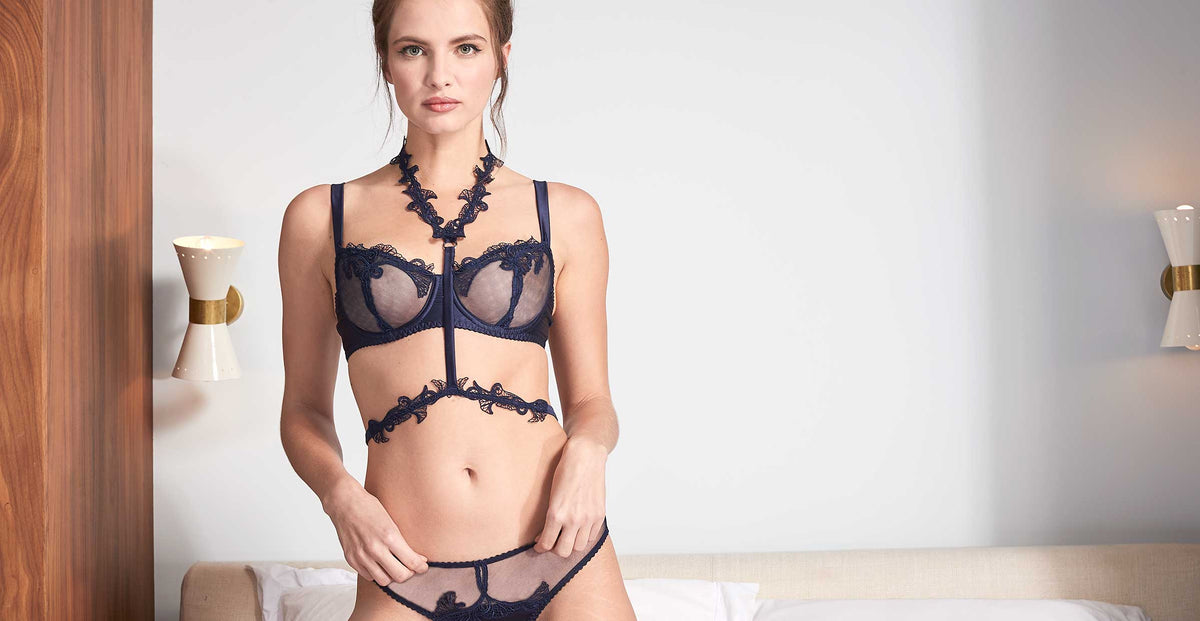 Fleur of England Midnight Blue Balcony Bra Harness
