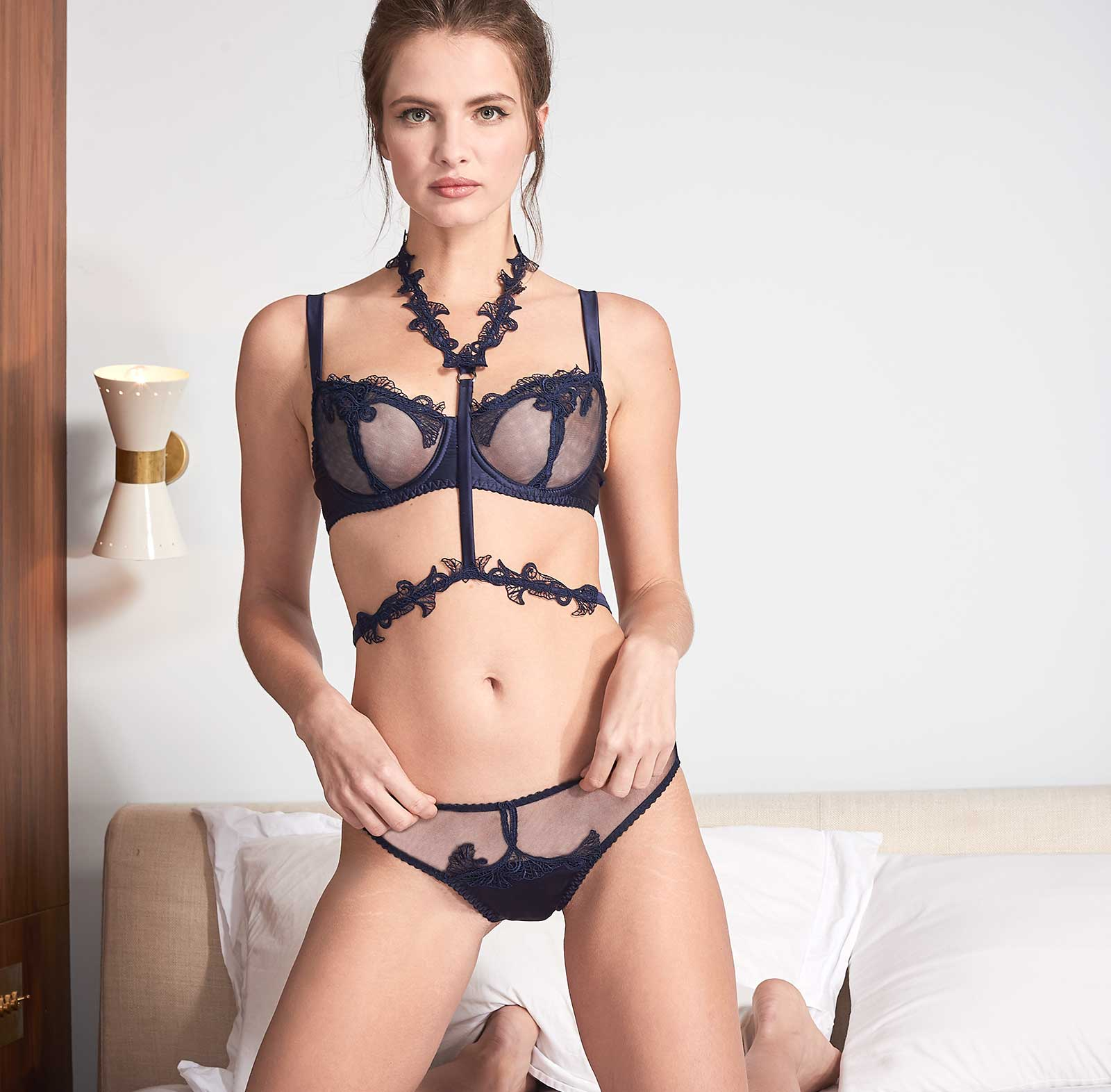 Fleur of England Midnight Blue Balcony Bra Harness Brief