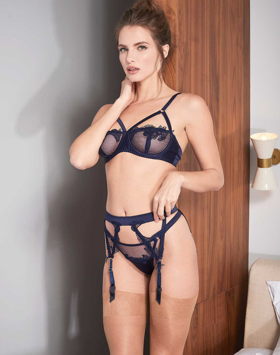 Fleur of England Midnight Blue Strap Balcony Bra Suspender Belt Thong