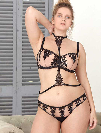 Fleur of England Onyx black embroidered lingerie