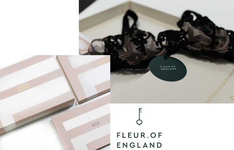Fleur of England packaging rebrand sustainable logo luxury lingerie gift recycling