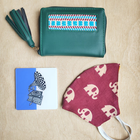 Handcrafted Small Wallet + Coaster + Mask