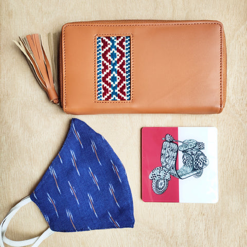 Hnadcrafted Medium wallet + Coaster + Reversible Mask