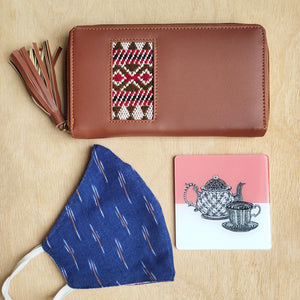 Handcrafted Medium wallet + Coaster + Reversible Mask