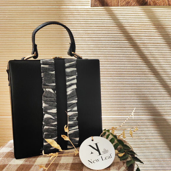 Black Ikat Frill Box Sling bag
